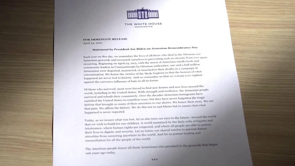 Biden declares massacres of Armenians a genocide
