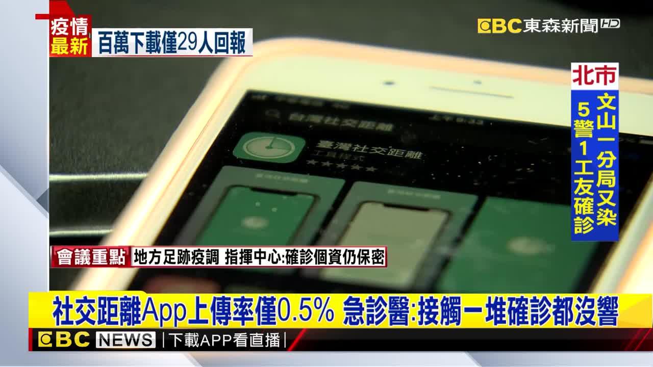 社交距離App上傳率僅0.5% 急診醫:接觸一堆確診都沒響