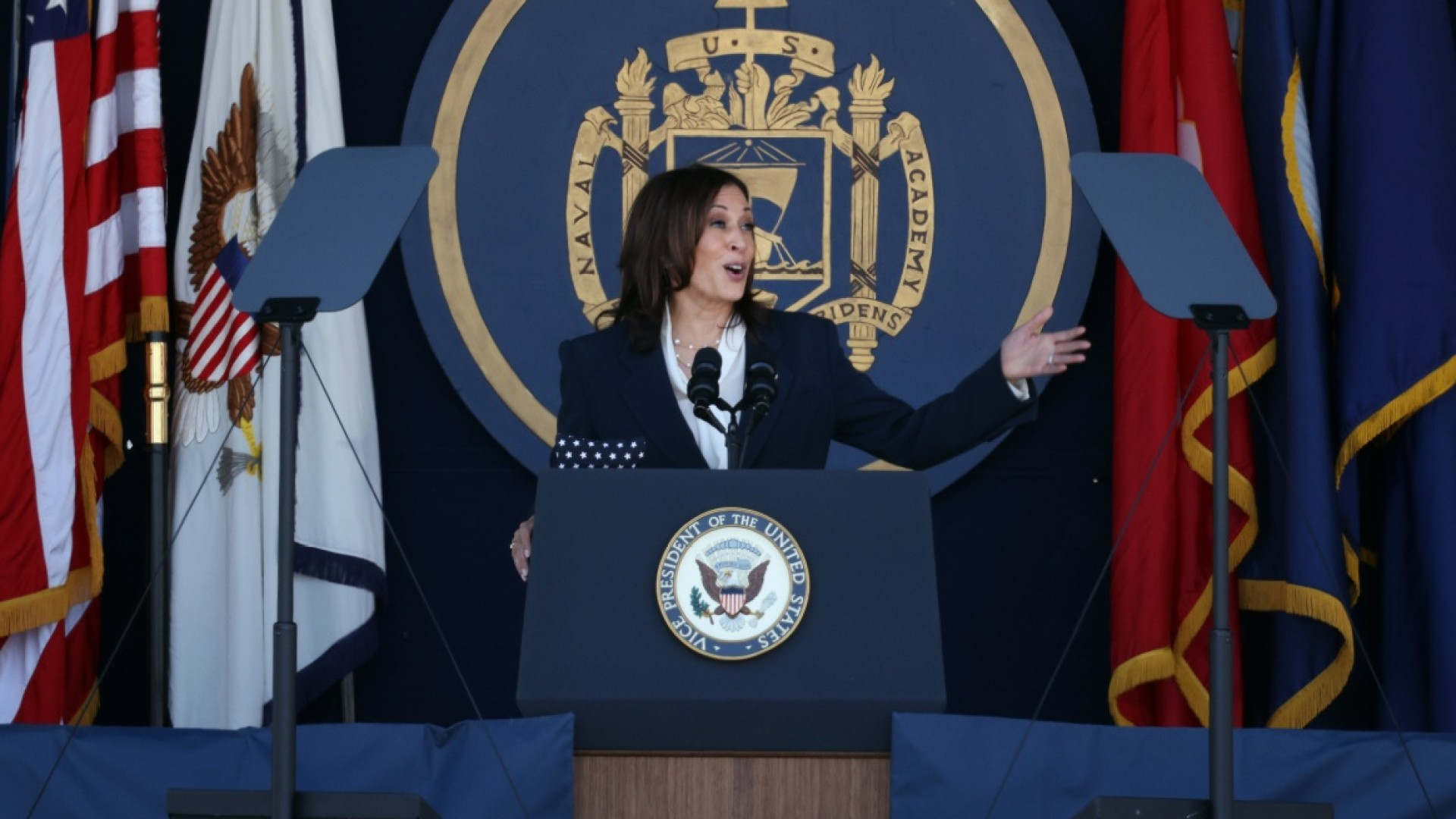 VP Kamala Harris becomes Naval Academy's first female commencement speaker, tells 1000 graduates 'our world is fragile', the Colonial pipeline hack was 'a warning shot' and climate change is a 'national security threat'