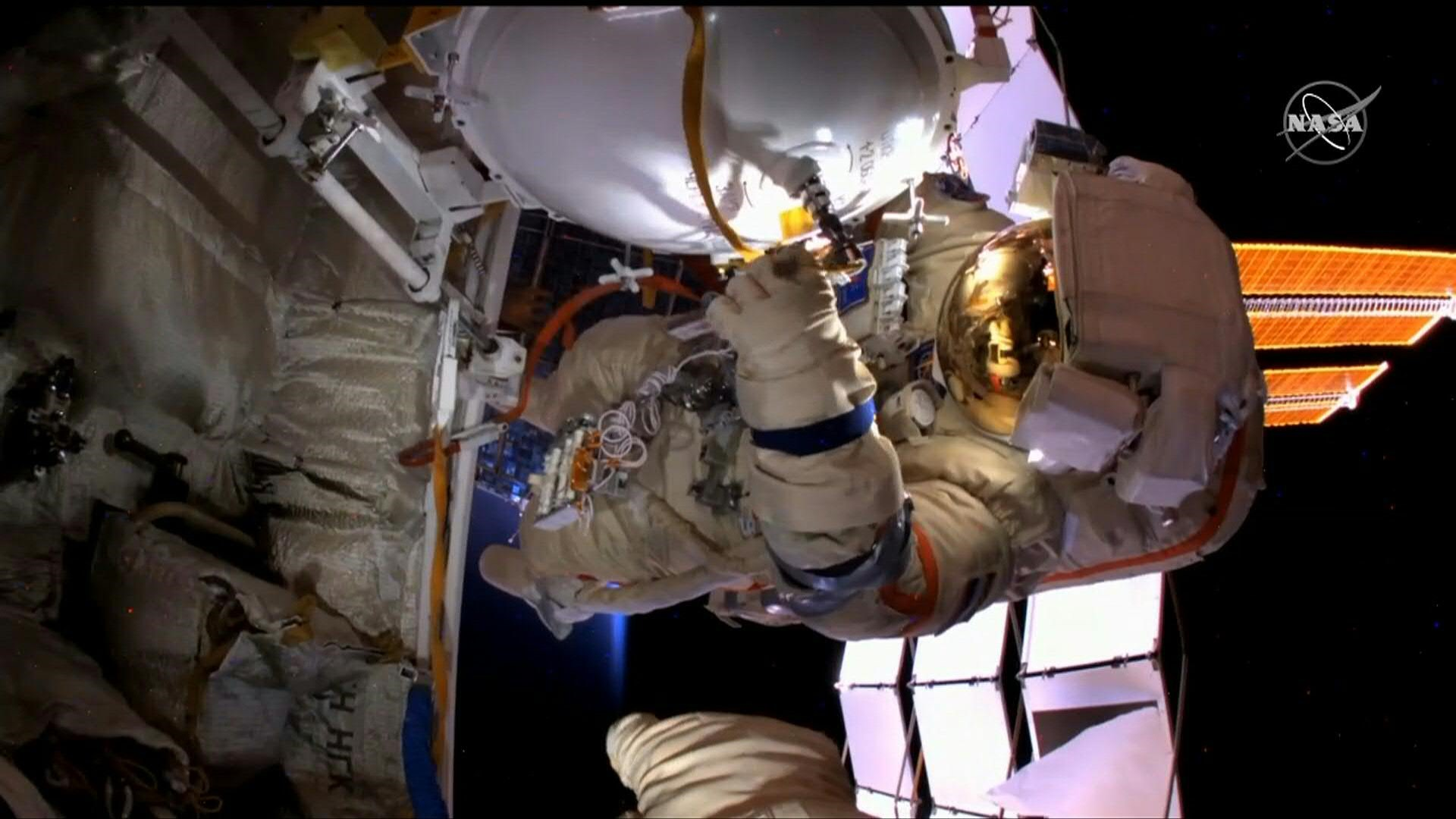 Cosmonauts conduct spacewalk from the ISS