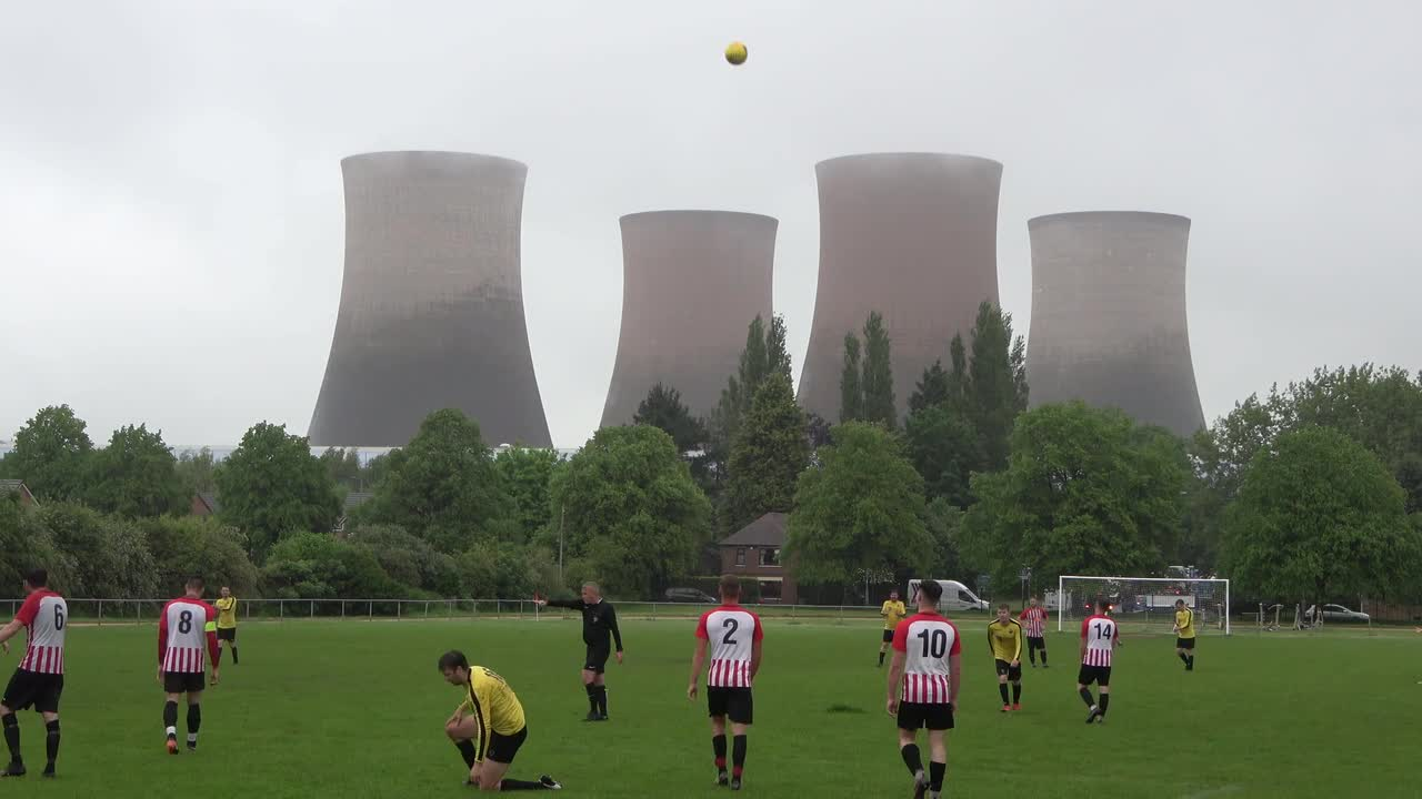 Football match interrupted by UK power station demolition explosion