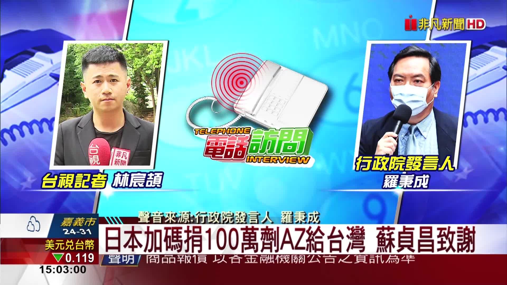 日本加碼捐100萬劑AZ給台灣 蘇貞昌致謝