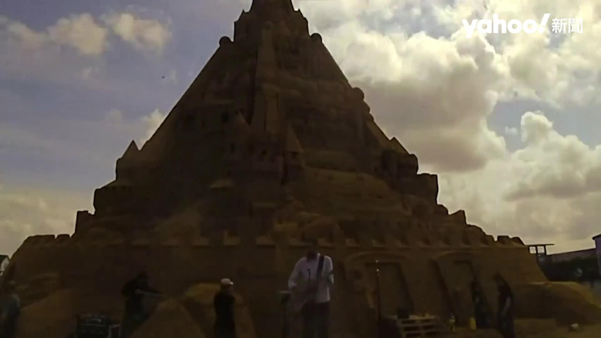 世界最高沙雕「疫情」城堡 21公尺高4860噸沙打造