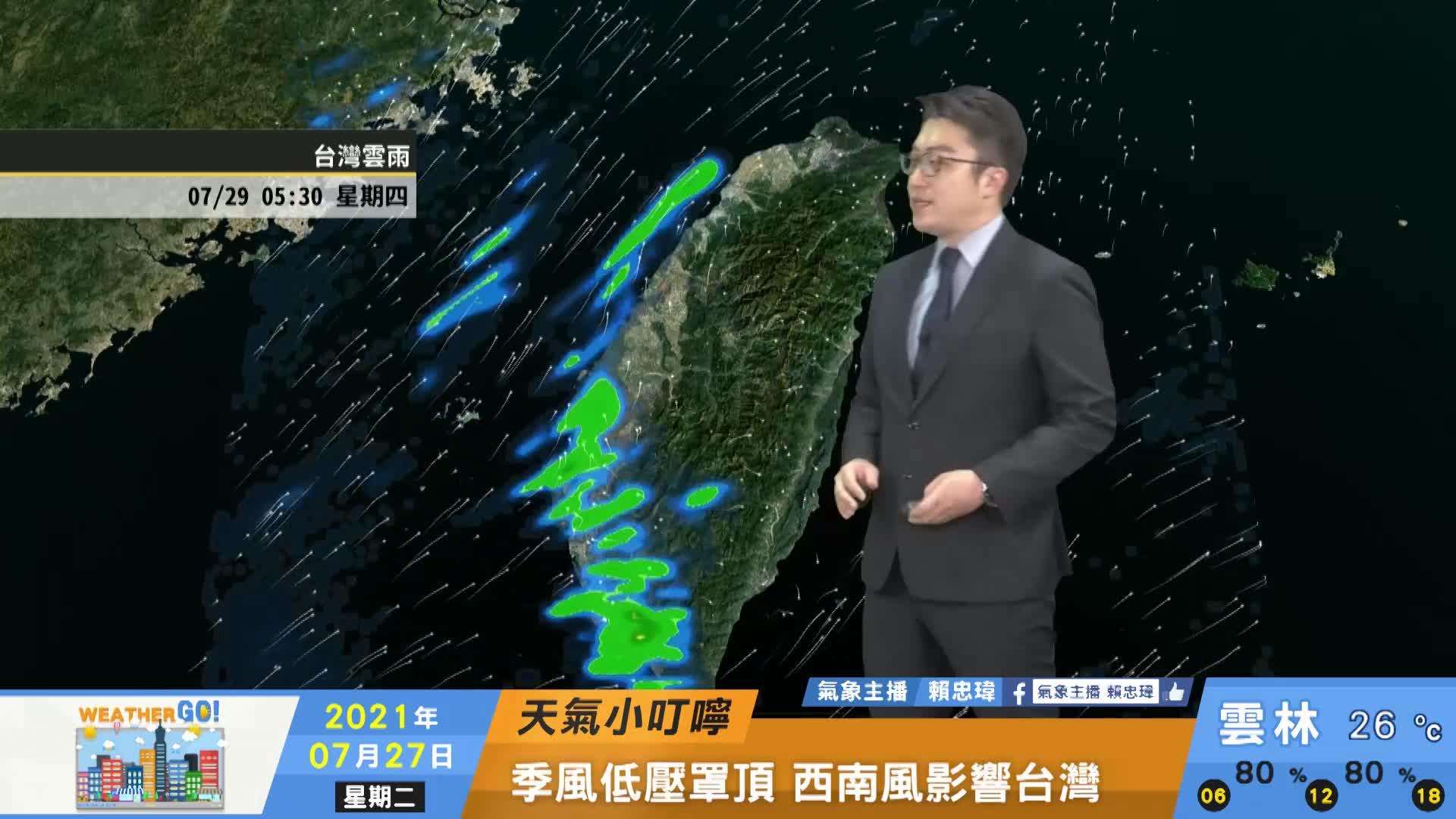 一分鐘報天氣 /週三(07/28日) 周三西南風漸增強 考生留意陣雨北防高溫