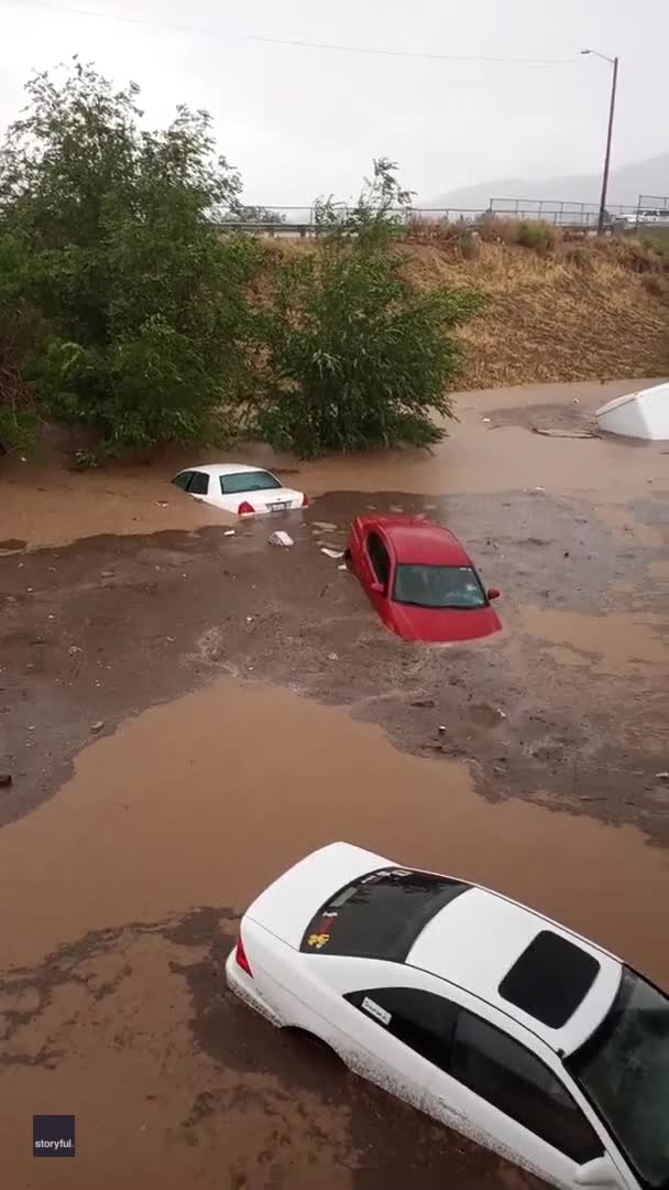 Cars Submerged in Parking Lot After Flash Flooding Hits Cedar City, Utah