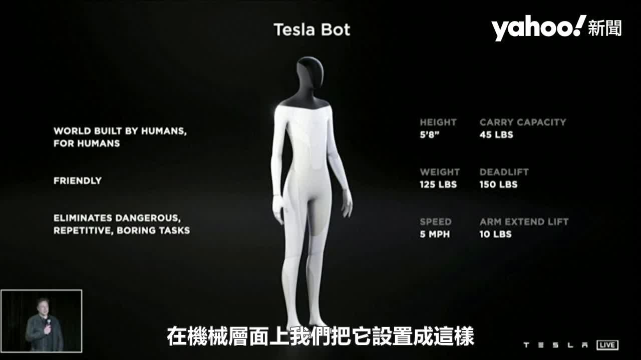 馬斯克推特斯拉機器人 取代體力勞動拚2022年實體問世