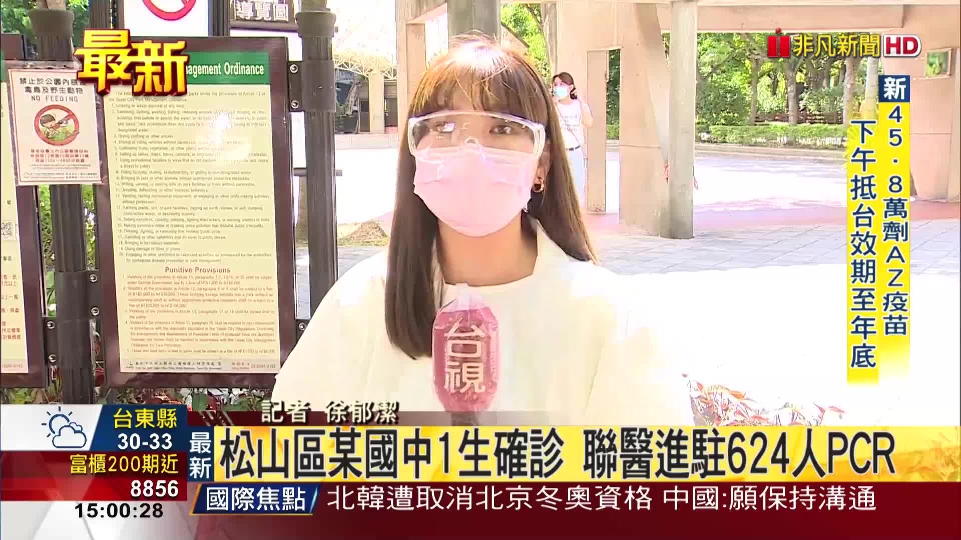 松山區某國中1生確診 聯醫進駐624人PCR