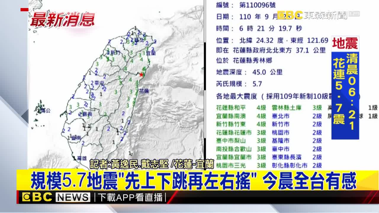 今晨6:21規模5 7地震 花、宜、竹震度4級