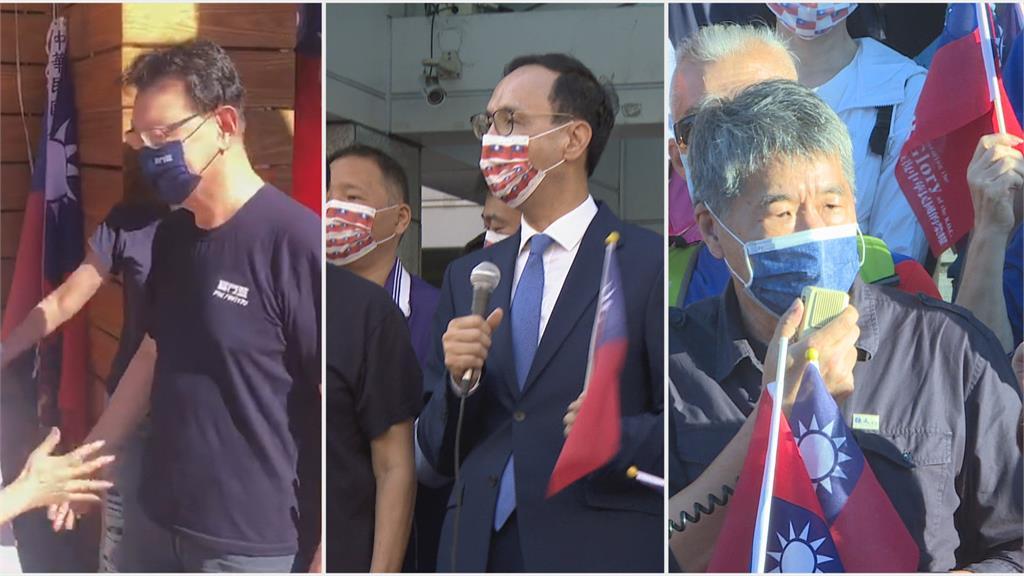 暗自較勁? 朱立倫黨中央升旗 張亞中新竹車隊遊行