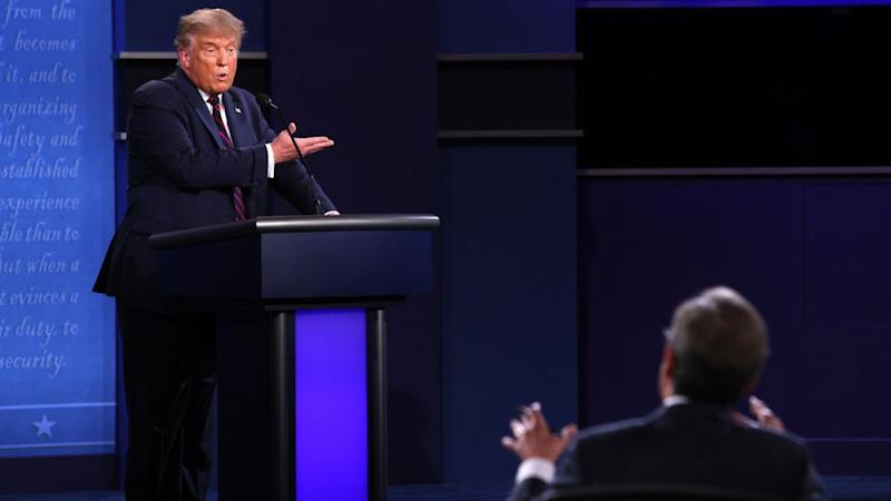 President Donald Trump participates in the first presidential debate against Democratic presidential nominee Joe Biden