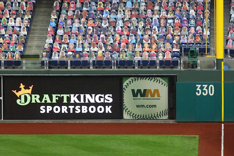 PHILADELPHIA, PA - AUGUST 31: A general view of the DraftKings Sportsbook logo in right field during the Major League Baseball game between the Philadelphia Phillies and the Washington Nationals on August 31, 2020 at Citizens Bank Park in Philadelphia, PA. (Photo by Rich Graessle/Icon Sportswire via Getty Images)