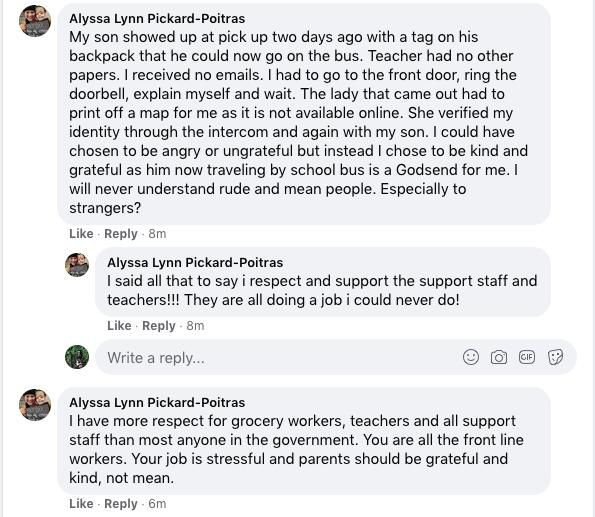 Comment on Leslie Lascelle's post. Image via Facebook.com