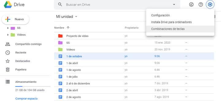 Combinación de teclas en Google Drive