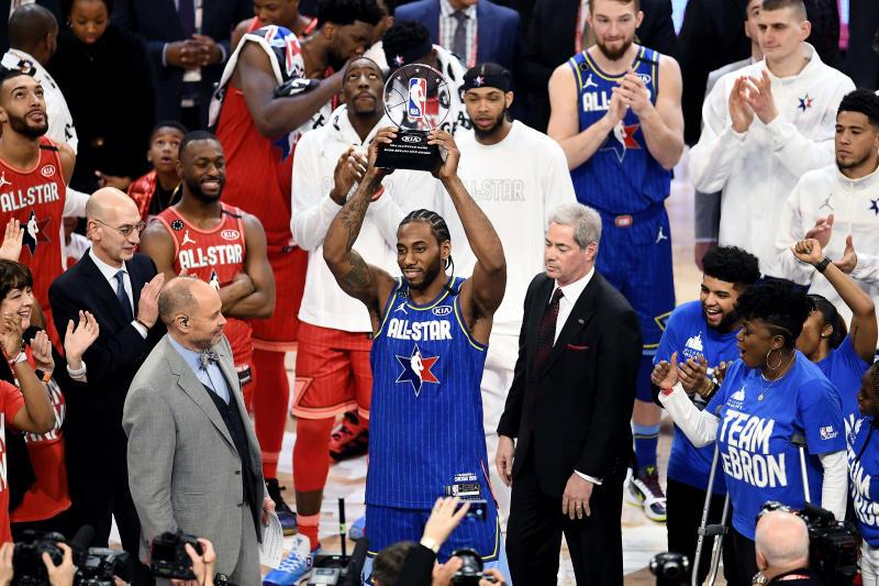 Kawhi Leonard won the first annual Kobe Bryant All-Star Game MVP award. (Stacy Revere/Getty Images)