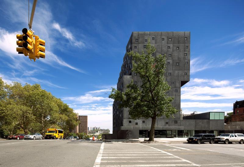 Outside of David Adjaye's Sugar Hill Housing in New York City.