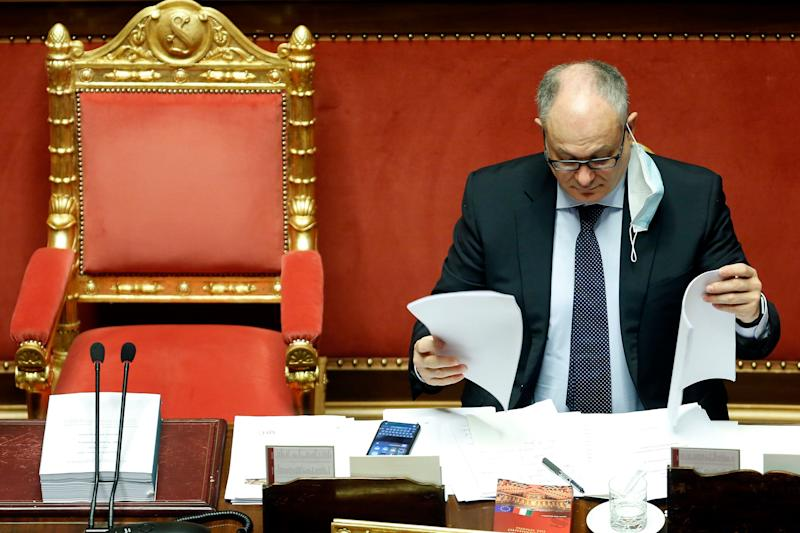 The Italian Minister of Economy Roberto Gualtieri at the Senate reading finance documents during the discussion and vote for the updating of the budget document for 2020. Rome (Italy), July 29th 2020 (Photo by Samantha Zucchi/Insidefoto/Mondadori Portfolio via Getty Images) (Photo: Mondadori Portfolio via Getty Images)