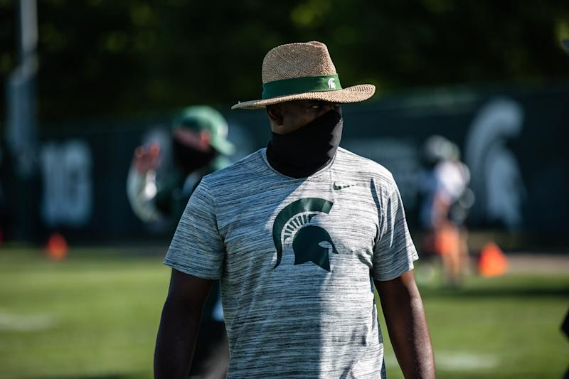 Michigan State football coach Mel Tucker oversees his first practice of preseason camp Friday, Aug. 7, 2020, in East Lansing.