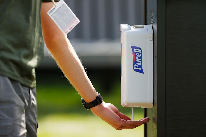 ORLANDO, FLORIDA - MARCH 05: Purell hand sanitizer is used during the first round of the Arnold Palmer Invitational Presented by MasterCard at the Bay Hill Club and Lodge on March 05, 2020 in Orlando, Florida. (Photo by Kevin C. Cox/Getty Images)