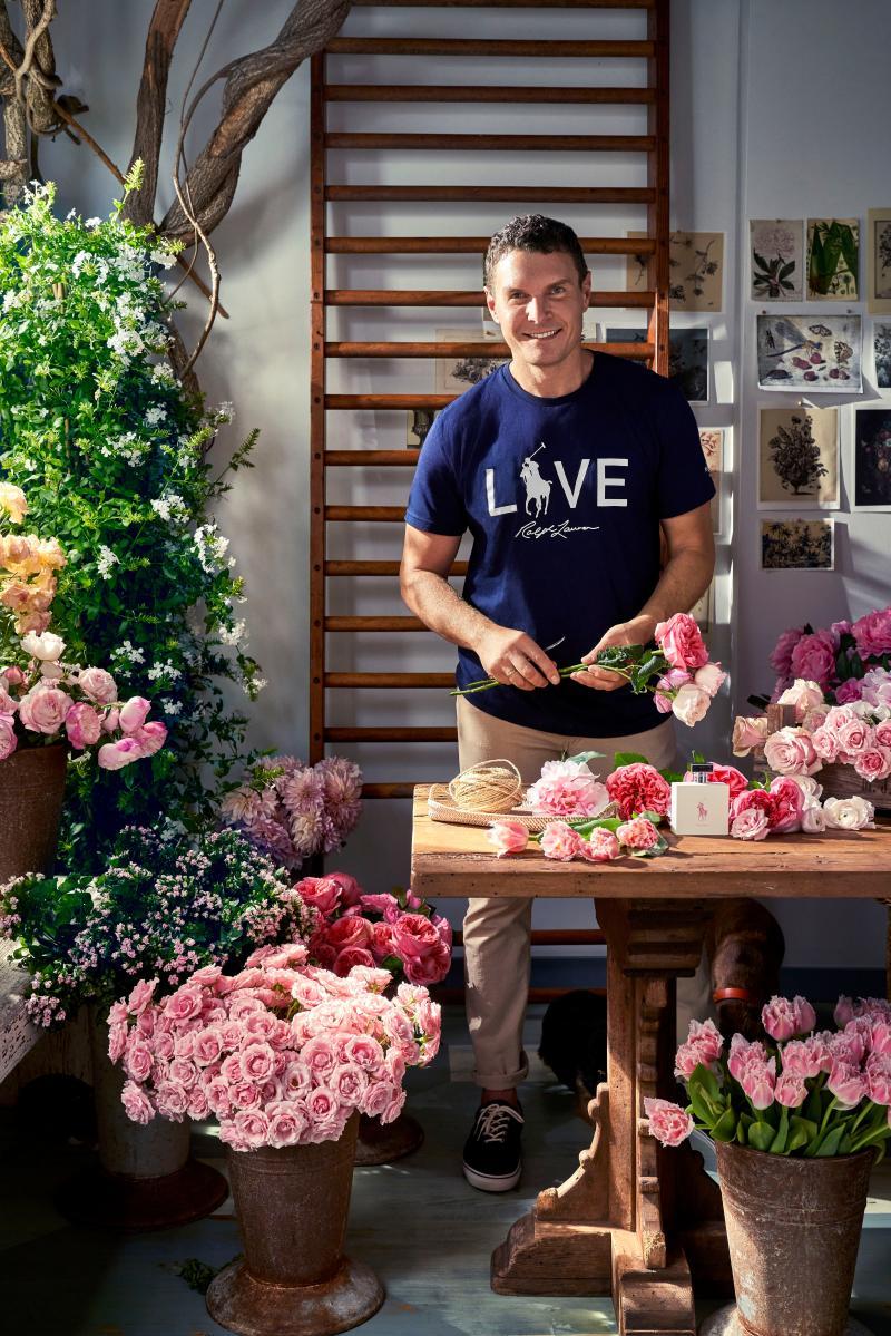 Lewis Miller in his flower-filled studio.