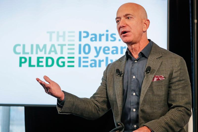 Amazon CEO Jeff Bezos, speaks in Washington, DC as the company co-founds The Climate Pledge. (Credit: Amazon)