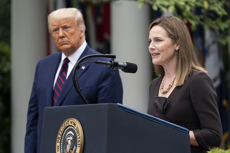 Judge Amy Coney Barrett speaks after President Trump announced her as the new Supreme Court nominee.