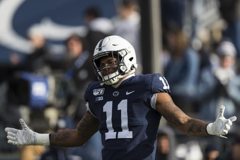 STATE COLLEGE, PA - NOVEMBER 30: Micah Parsons #11 of the Penn State Nittany Lions warms up before the game against the Rutgers Scarlet Knights at Beaver Stadium on November 30, 2019 in State College, Pennsylvania. (Photo by Scott Taetsch/Getty Images)