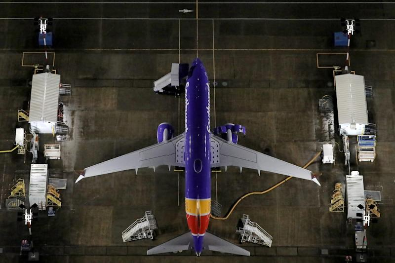 Aerial photos showing Boeing 737 Max airplanes parked at Boeing Field in Seattle, Washington, U.S. October 20, 2019. Picture taken October 20, 2019. REUTERS/Gary He