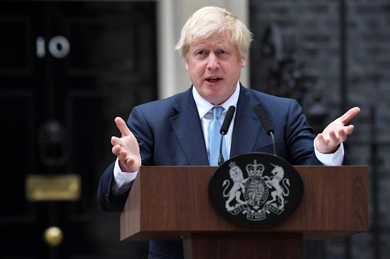 Britain's Prime Minister Boris Johnson delivers a statement outside 10 Downing Street in central London on September 2, 2019. - Prime Minister Boris Johnson chaired an emergency cabinet meeting Monday on the eve of a showdown with parliament over Brexit, amid growing speculation he could call an early election to ensure Britain leaves the European Union next month. (Photo by Ben STANSALL / AFP) (Photo credit should read BEN STANSALL/AFP via Getty Images)
