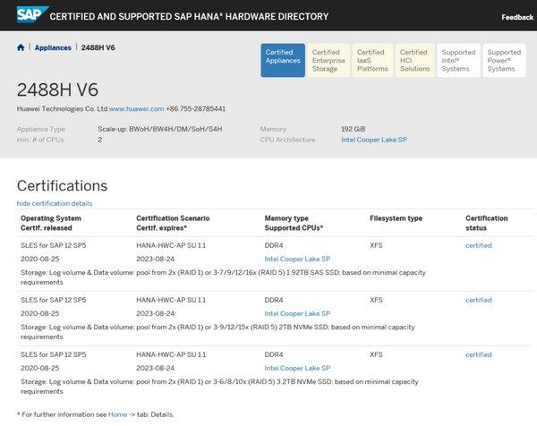 Huawei FusionServer Pro 2488H V6 SAP HANA appliance certification results