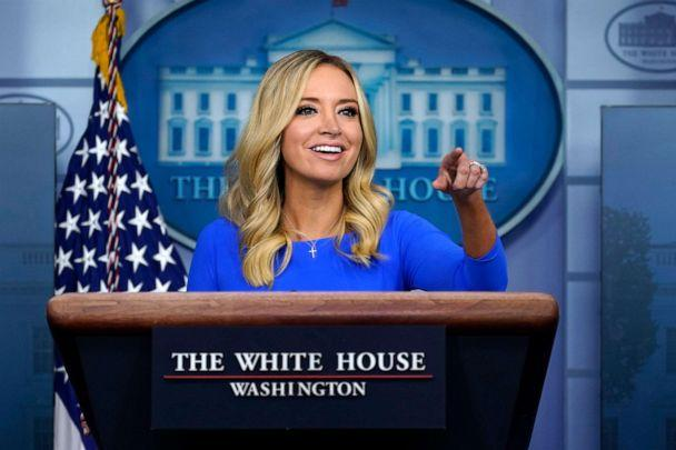 PHOTO: White House press secretary Kayleigh McEnany speaks during a news conference at the White House, Oct. 1, 2020. (Carolyn Kaster/AP)