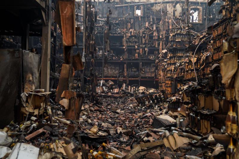 A look inside the devastation atCastello di Amorosa's farm house on Tuesday.