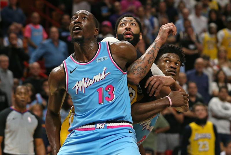 It might require Bam Adebayo and Jimmy Butler to make an Anthony Davis sandwich. (David Santiago/Miami Herald/Tribune News Service via Getty Images)