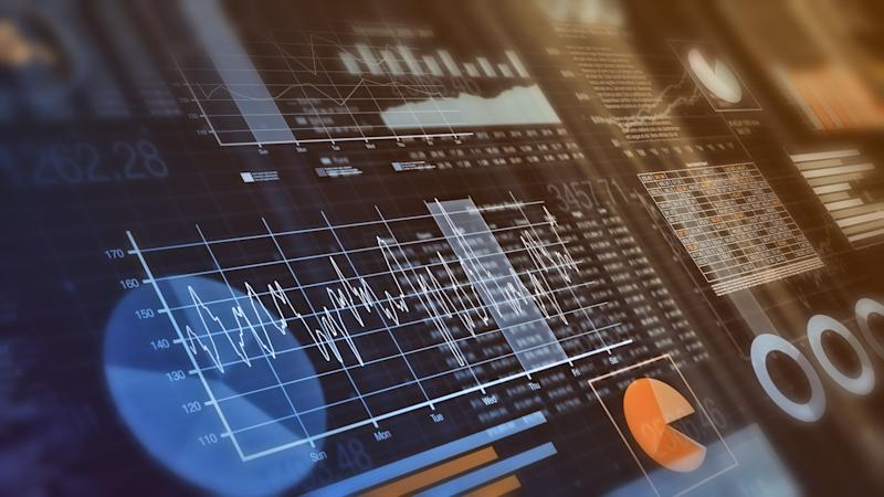 close-up view of financial graphs, bar, circle and line charts (3d render) (Photo: lucadp via Getty Images)