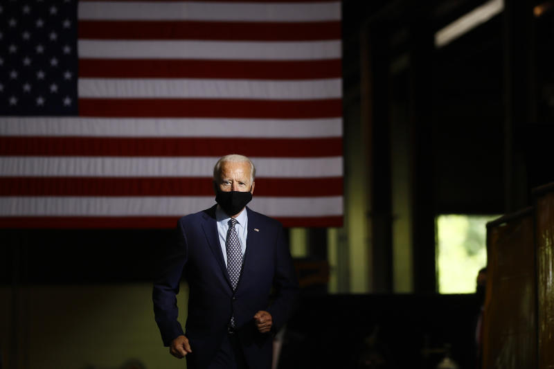 Democratic presidential candidate former Vice President Joe Biden arrives to speak at McGregor Industries in Dunmore, Pa., Thursday, July 9, 2020. (AP Photo/Matt Slocum)