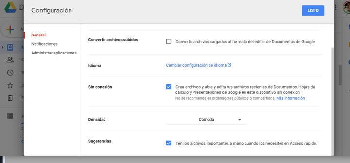 Trabajar sin conexión en Google Drive