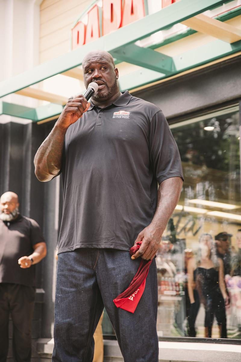 Papa John's spokesman Shaquille O'Neal at a ribbon cutting in Atlanta on Aug. 24, 2019