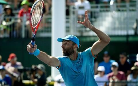 Ivo Karlovic of Croatia returns against Ivo Matthew Ebden of Australia during the mens singles first round match on day four of the BNP Paribas Open on March 7, 2019 in Indian Wells, California - Credit: Getty Images