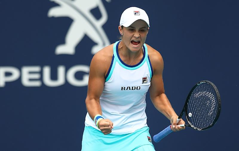Australia's Ashleigh Barty celebrates match point to beat Czech Karolina Pliskova in the WTA Miami Open final (AFP Photo/JULIAN FINNEY)