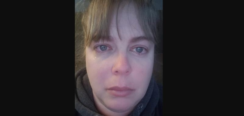 Leslie Lascelle is seen with tears in her eyes as she looks ahead in a photo she shared to Facebook (Facebook)