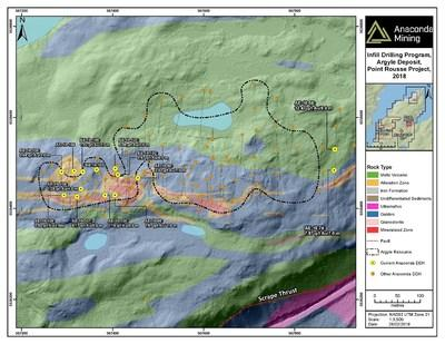 Exhibit A. A geological map of the Argyle area showing the deposit and the location of recent drilling during the Argyle Exploration Program and the Argyle Infill Program. Hole AE-18-83 which contained two intersections of high-grade visible gold is shown to the northeast of the Argyle Deposit. (CNW Group/Anaconda Mining Inc.)