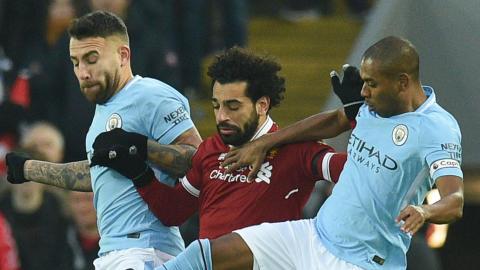 Nicolas Otamendi Mohamed Salah Fernandinho Manchester City Liverpool