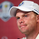 Sep 29, 2016; Chaska, MN, USA;  Danny Willett of England speaks in a press conference during a practice round for the 41st Ryder Cup at Hazeltine National Golf Club. Mandatory Credit: John David Mercer-USA TODAY Sports