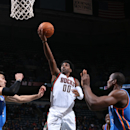 MILWAUKEE, WI - NOVEMBER 11: O.J. Mayo #00 of the Milwaukee Bucks goes up for a shot against the Oklahoma City Thunder on November 11, 2014 at the BMO Harris Bradley Center in Milwaukee, Wisconsin. (Photo by Gary Dineen/NBAE via Getty Images)