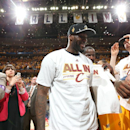 CLEVELAND, OH - MAY 26: LeBron James #23 of the Cleveland Cavaliers celebrates after winning the Eastern Conference Final after Game Four of the Eastern Conference Finals during the 2015 NBA Playoffs against the Atlanta Hawks on May 26, 2015 at Quicken Loans Arena in Cleveland, Ohio. (Photo by Nathaniel S. Butler/NBAE via Getty Images)