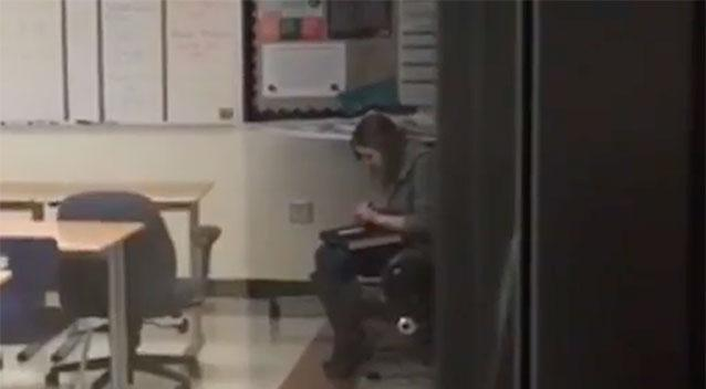 Ms Cox was filmed in her classroom. Source YouTube