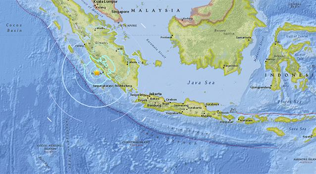 The 6.5 quake struck the Indonesian island of Sumatra. Source USGS