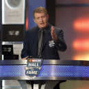 Bill Elliott speaks during his induction into the NASCAR Hall of Fame on Friday, Jan. 30, 2015, in Charlotte, N.C. Elliott was NASCAR's 1988 champion, a 44-race winner and the first driver to win the Winston Million bonus in 1985 for winning three NASCAR crown jewel races. (AP Photo/Nell Redmond)
