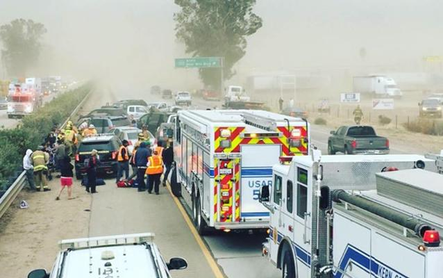 Huge Multi Vehicle Pile Up During Dust Storm In California