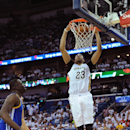 NEW ORLEANS, LA - APRIL 25: Anthony Davis #23 of the New Orleans Pelicans dunks the ball during Game Four of the Western Conference Quarterfinals against the Golden State Warriors during the NBA Playoffs at Smoothie King Center on April 25, 2015 in New Orleans, Louisiana. (Photo by Noah Graham/NBAE via Getty Images)