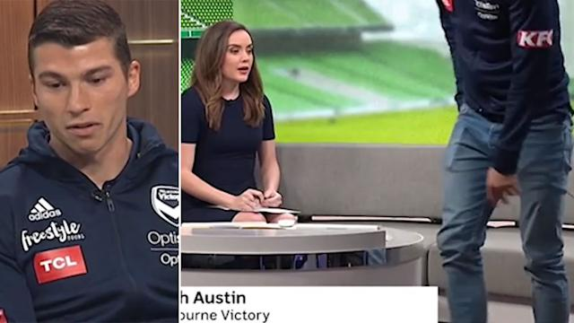 'There goes Mitch': Melbourne Victory footballer Mitch Austin suffers on-air panic attack